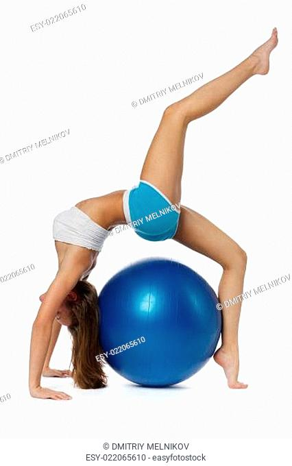 Woman with gymnastic ball