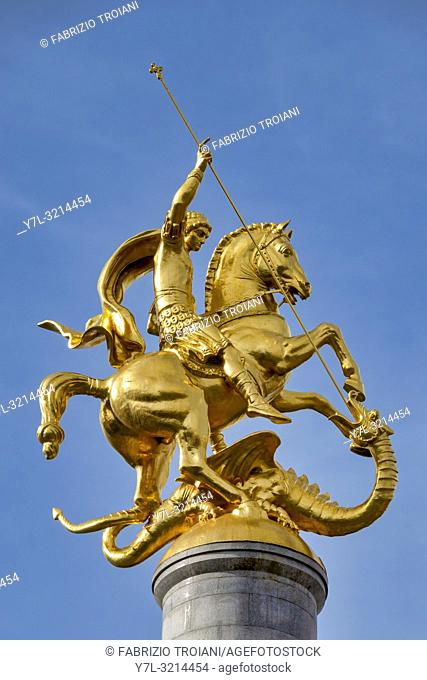 Golden St. George statue on top of the Freedom Monument in Freedom Square, Tbilisi, Georgia