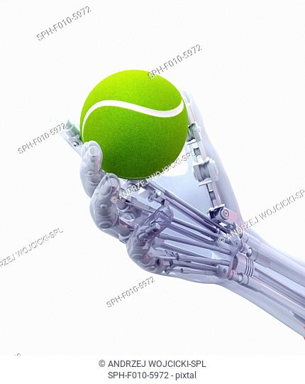 Artificial hand holding a tennis ball, computer artwork