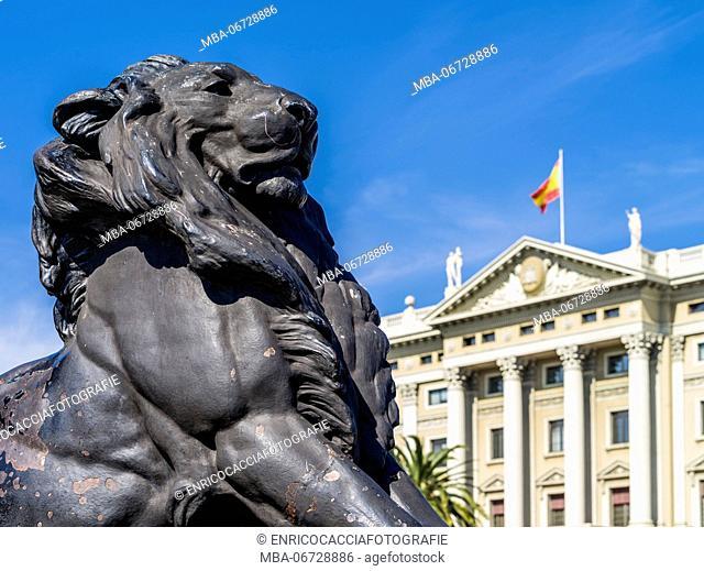 Lion of the Columbus column in Barcelona