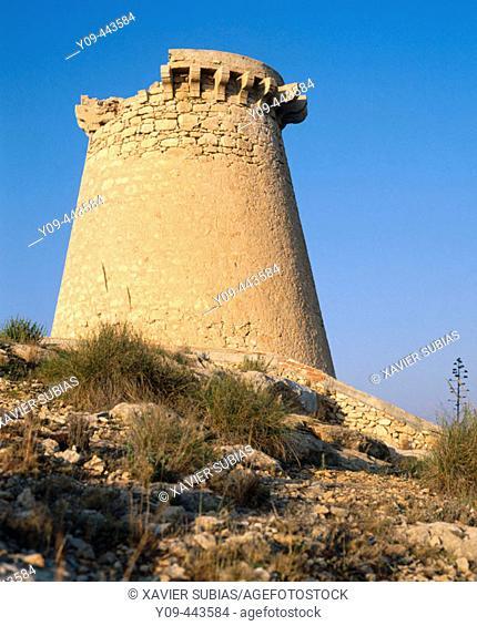 Escaletes watchtower. Santa Pola, Alicante province, Valencian Community, Spain
