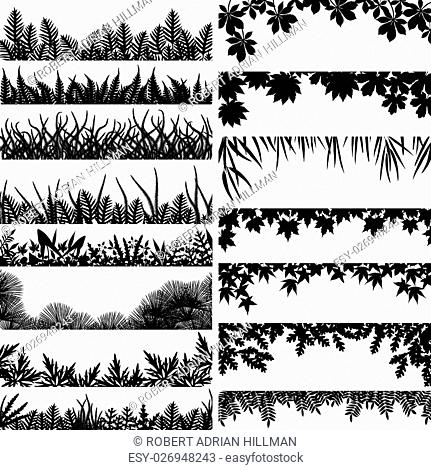 Selection of vector borders and foregrounds of various plants and trees