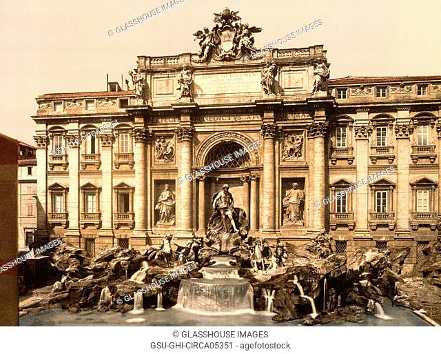 Trevi Fountain, Rome, Italy, Photochrome Print, Detroit Publishing Company, 1900
