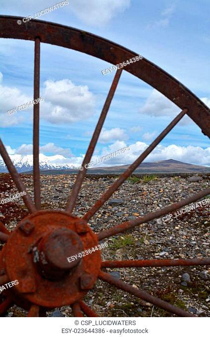 Old wagon wheel in Tongariro National Park