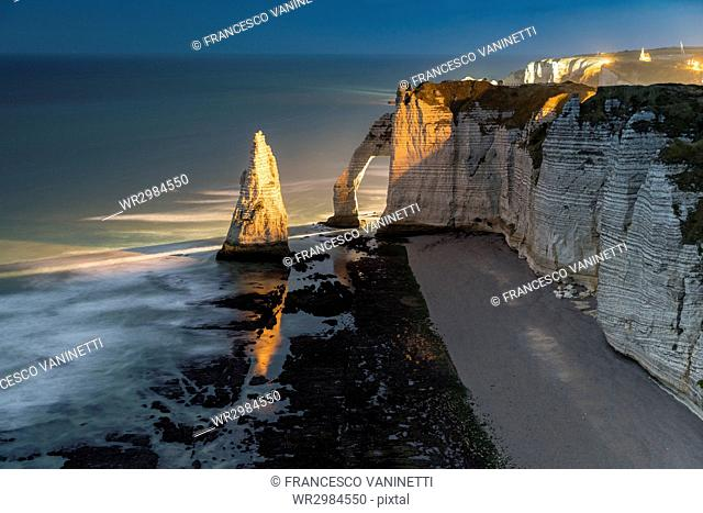 Long exposure at sunset of the chalk cliffs, Etretat, Normandy, France, Europe