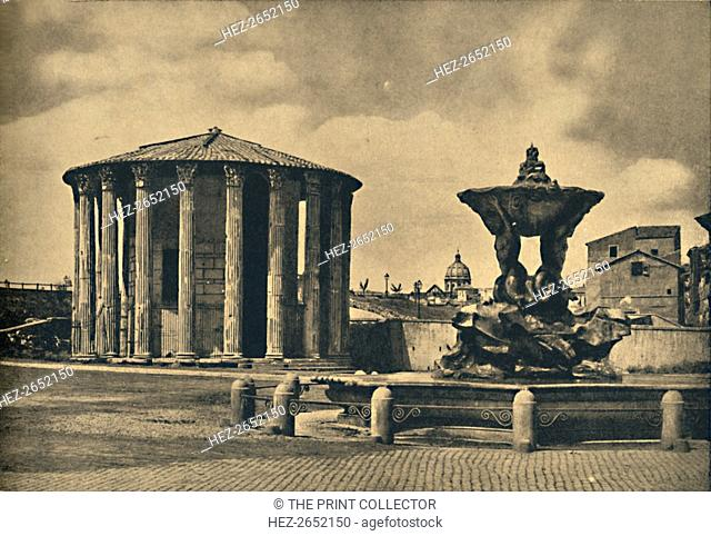 'Roma - Piazza Bocca della Verita', 1910. By the Tiber. Round Temple of the Mater Matuta commonly called Temple of Vesta