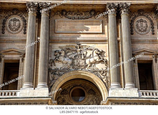 Entrance to the Louvre Museum by Cour Carree, Paris, France