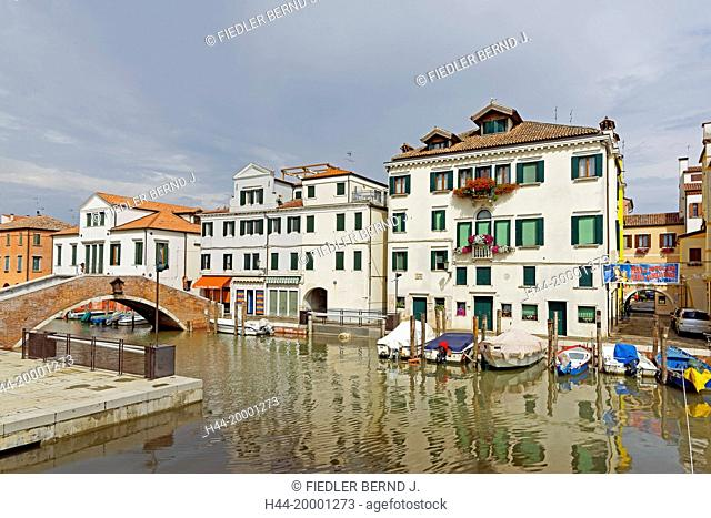 Chioggia, houses, homes, typical, canal, harbour, boats