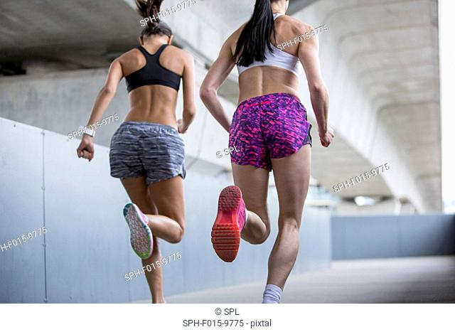 MODEL RELEASED. Two young women running