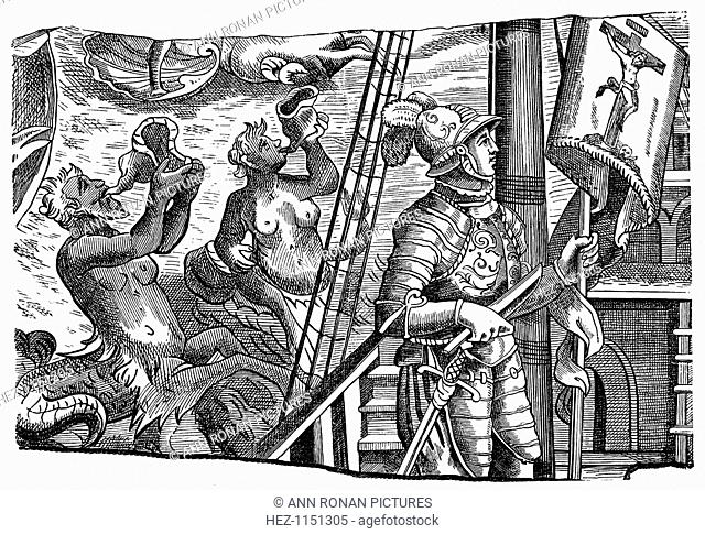 Christopher Columbus during his voyage to America, Engraving, c1500. Engraving of an ivory niello showing Christopher Columbus (1451-1506), Genoese explorer