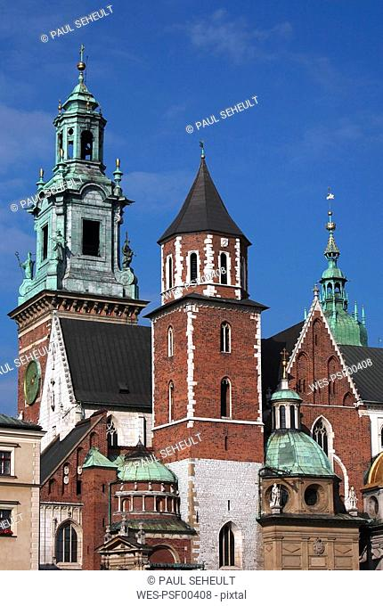 Poland, Cracow, The facade of Wawel Cathedral