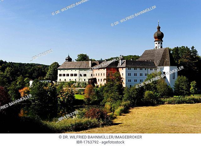 Hoeglwoerth monastery on Hoeglwoerther See lake, Upper Bavaria, Bavaria, Germany, Europe