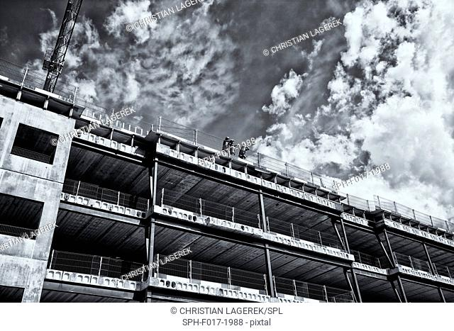 Buildings under construction, low angle view