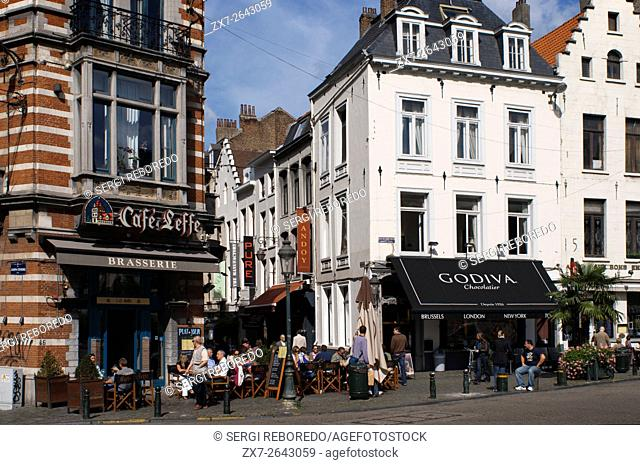 Belgian buildings at Place Grand Sablon in Brussels, Belgium. Grand Sablon square. In this square into a triangle elegant architectural buildings dating from...