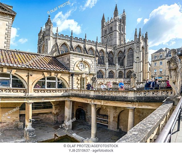 The Roman Baths complex, a site of historical interest in the English city of Bath, Somerset, England. The house is a well-preserved Roman site for public...