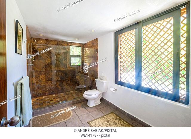 Upscale Mexican Residence - Bathroom with shower stall and toilet, Punta de Mita, Riviera Nayarit, Mexico