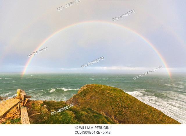 Rainbow over ocean, Trenance, Cornwall, UK