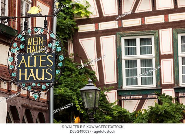 Germany, Rheinland-Pfalz, Bacharach, sign for the Altes Haus wine bar