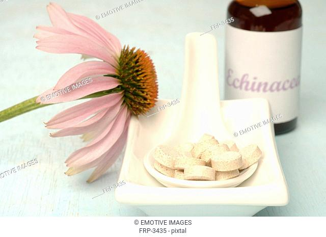 Echinacea blossom in a small bowl with pills in a spoon and drops