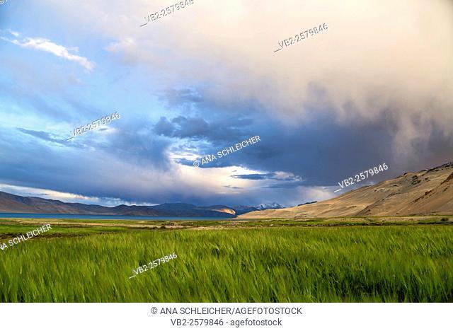 Sunset from Korzok. Nomad summer festival in Tso Moriri lake, Ladakh (India)