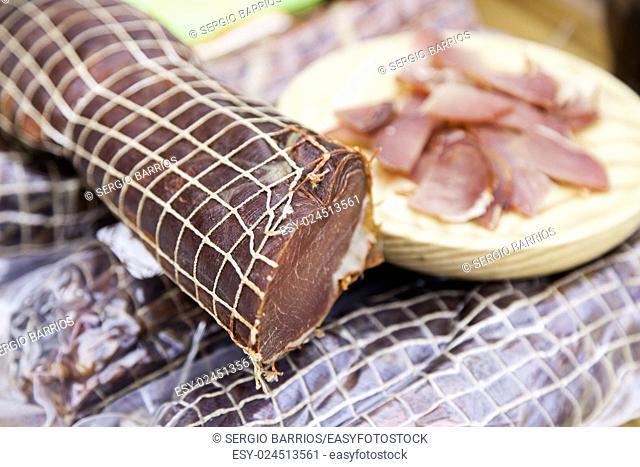 Cured pork loin, beef jerky detail in a market. in Spain