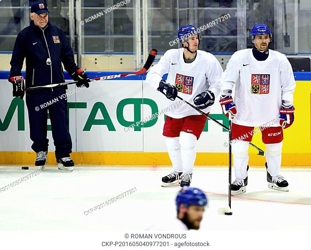 Czech head coach Vladimir Vujtek, left, and players Roman Cervenka and Tomas Plekanec are pictured during the training session of Czech National Hockey Team...