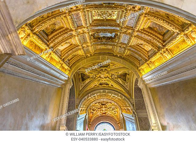 Ceiling Scala D Oro Staiway Palazzo Ducale Doge's Palace Venice Italy. Doge's Palace was the residence of the Venetian ruler from 1200s to 1787