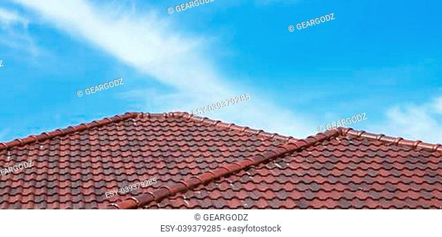 beautiful roof on new house and blue sky