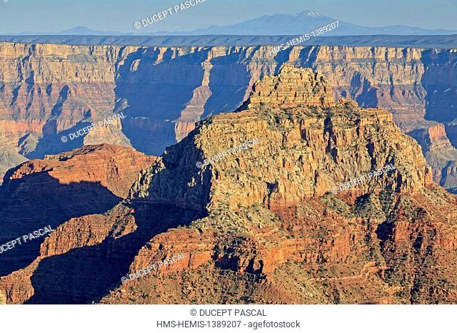United States, Arizona, Grand Canyon National Park, listed as World Heritage by UNESCO, north rim, south rim seen from Cape Royal overlook