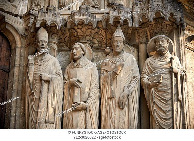 . South Porch, Right Portal c. 1194-1230, Cathedral of Notre Dame, Chartres, France. Gothic statues of from left to right they are