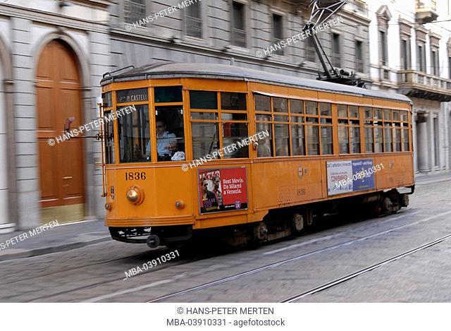 Italy, Milan, streetscar, via Alessandro Manzoni