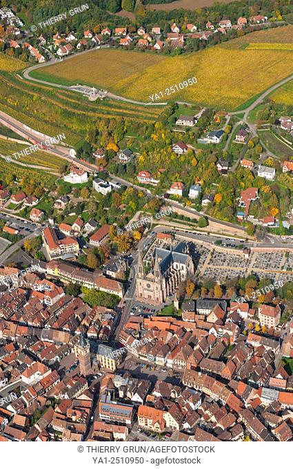 France, Bas Rhin 67, Wines road, Obernai town aerial view
