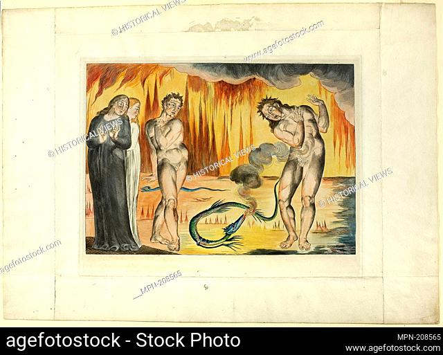 The Circle of the Thieves; Buoso Donati Attacked by the Serpent. Inferno, canto XXV - 1827, printed c. 1892 - William Blake English