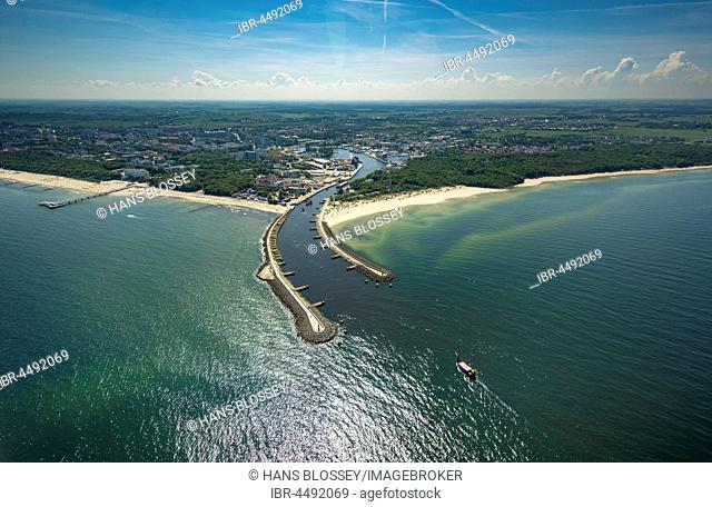 Harbor entrance, pier, Kolobrzeg, Kolberg, Baltic Coast, West Pomerania Province, Poland