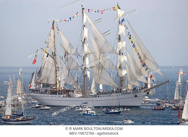Funchal 500 Tall Ships Regatta - Cuauhtemoc three masted barque. Pendennis Point Falmouth Cornwall UK