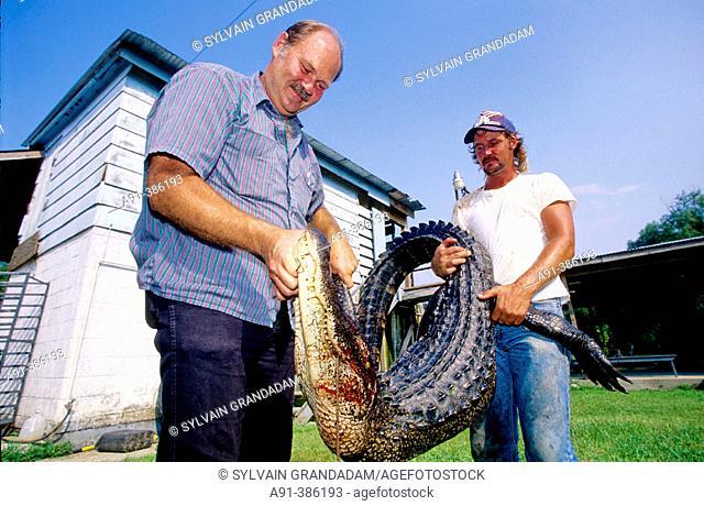 Thomas &  Emile Breaux cajun alligators hunters. Vacherie. Louisiana. United states (USA)