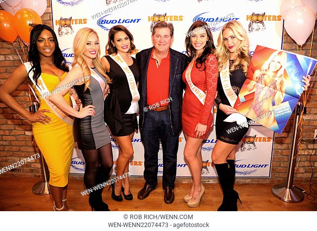 VIP party to celebrate the launch of Flagship Hooters Featuring: Ed Droste, 2015 calendar girls Where: Manhattan, New York