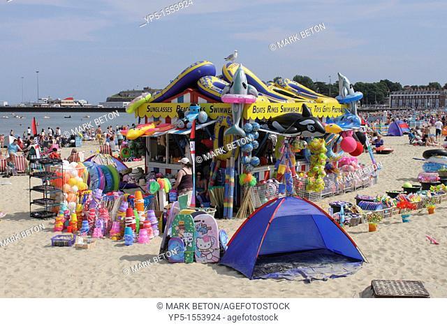 Swimwear and Beach Toys kiosk at Weymouth Beach Dorset