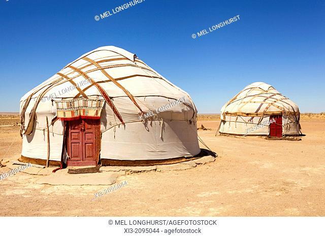 Yurts, Ayaz Kala Yurt Camp, Ayaz Kala, Khorezm, Uzbekistan