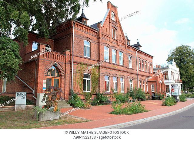 historic brick building Post Office, Heringsdorf, Usedom, Mecklenburg-Vorpommern, Germany, Europe