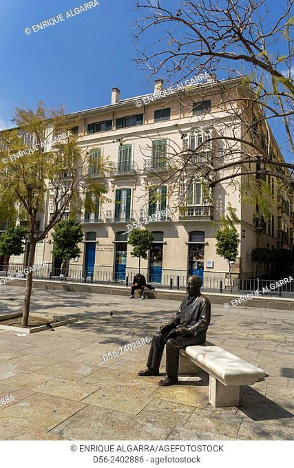 Picasso Statue in the Merced Square, Malaga, Andalucia, Spain