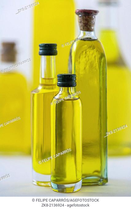 bottle of olive oil isolated on white