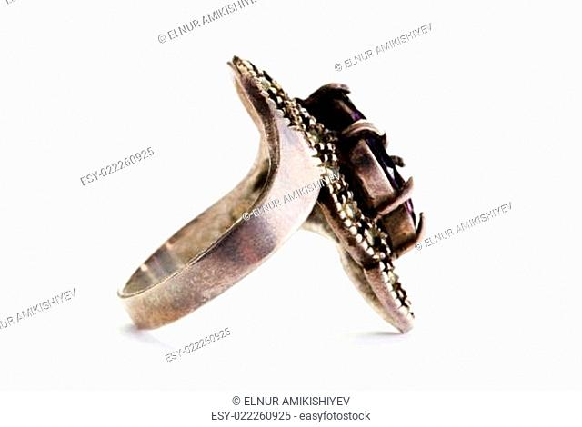 Jewellery ring isolated on the white background