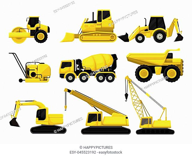 Collection of construction equipment. Special machines for building. Road roller, bulldozer, concrete mixing truck, crawler crane, dumper