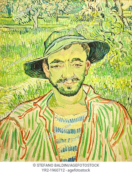The Gardener, aka Young Peasant, Vincent Van Gogh, 1889, oil on canvas, 61 x 50 cm, national gallery of modern art, Rome, Italy