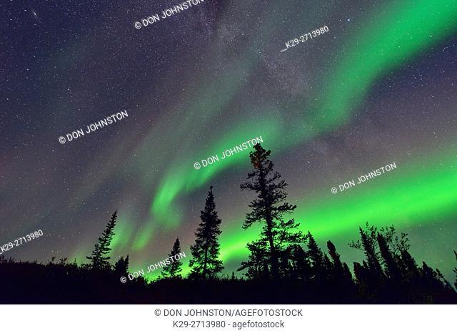 Aurora borealis and Milky Way near Ennadai Lake, Arctic Haven Lodge, Ennadai Lake, Nunavut, Canada
