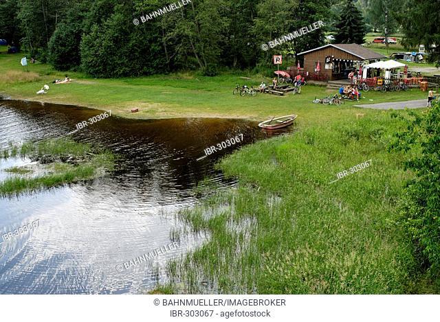 At the Lipno lake Vodni Nadrz Lipno Bohemian Forest Sumava Czech Republik the young Vltava river