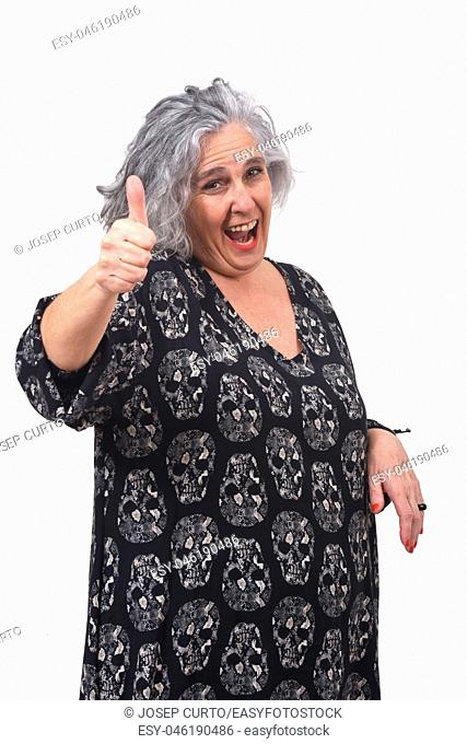 woman thumps up on white background