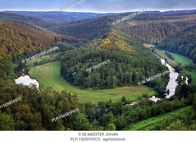 Tombeau du Géant, hill inside a meander of the river Semois at Botassart in the Belgian Ardennes, Belgium