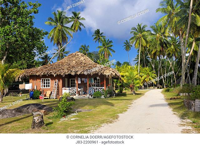 Typical house between palm trees, La Digue Island, Seychelles, Indian Ocean